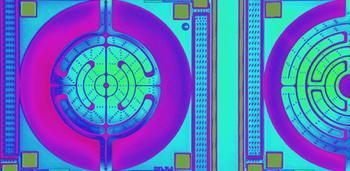 Zdjęcie mikroskopowe strefy grzewczej płytki oraz układu czujników CCMOSS.